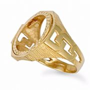 9ct Gold Octagonal Full Sovereign curb link shoulders blank coin ring 8.8g